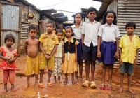 Children in one of India's many slums